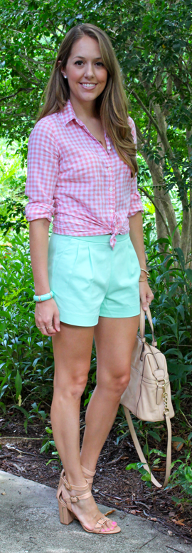Pleated mint shorts with pink gingham shirt