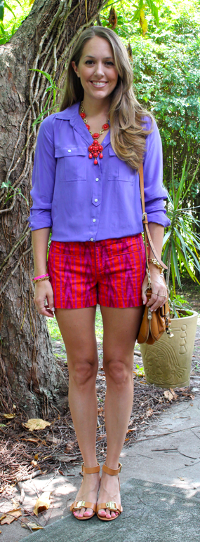 Red and purple tribal shorts