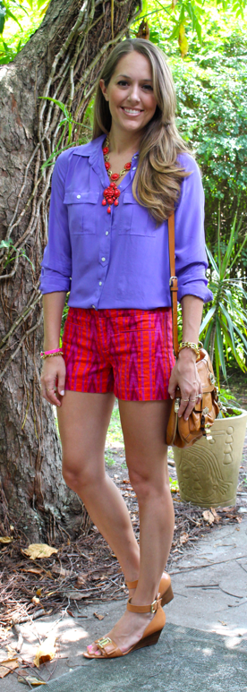 Red and purple tribal shorts with Stella & Dot Sardinia