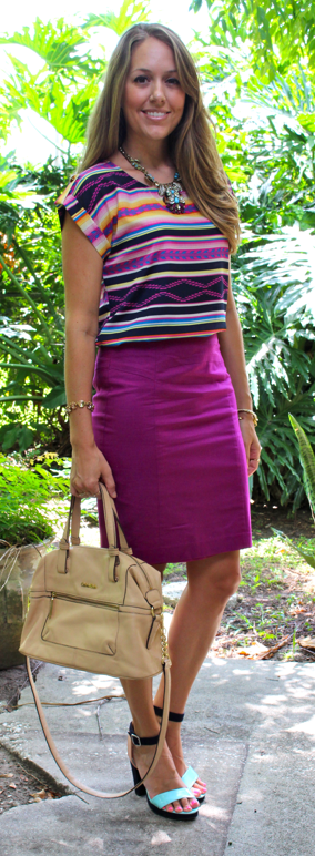 Tribal top with purple pencil skirt