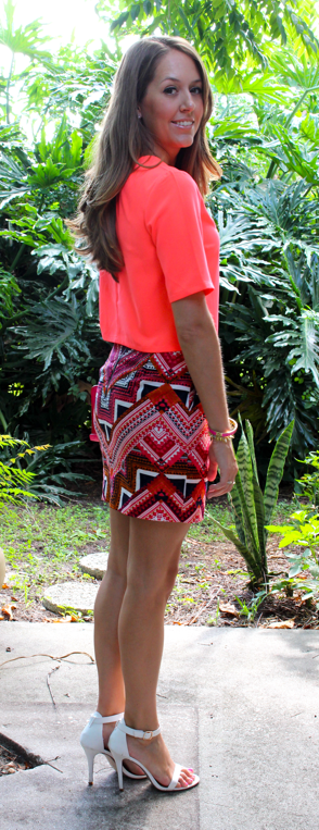 Neon top and Target tribal skirt