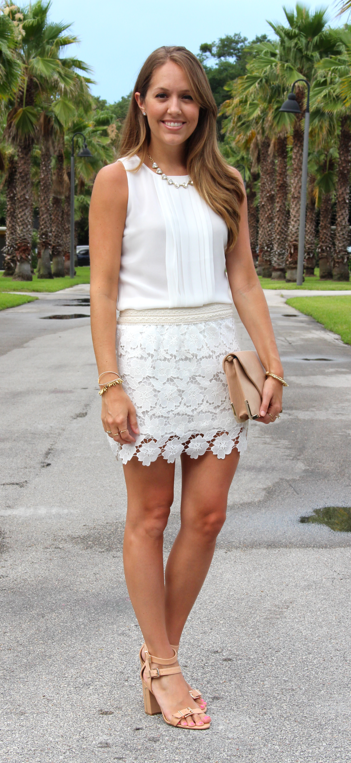 Pleated top and crochet skirt