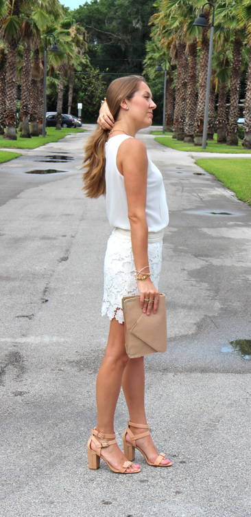 Crochet skirt with nude shoes