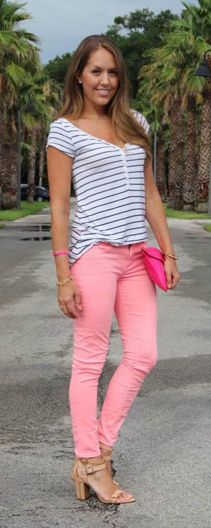 Striped top with pink jeans