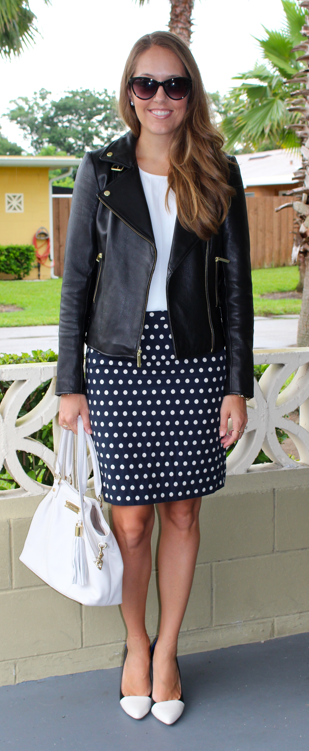 Leather jacket with polka dot skirt