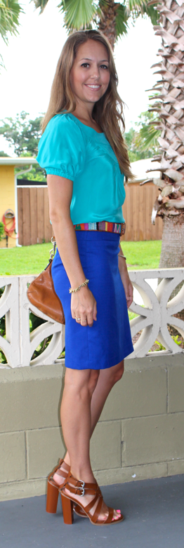 Turquoise top and cobalt pencil skirt