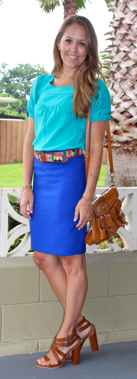 Turquoise top and cobalt skirt with woven belt
