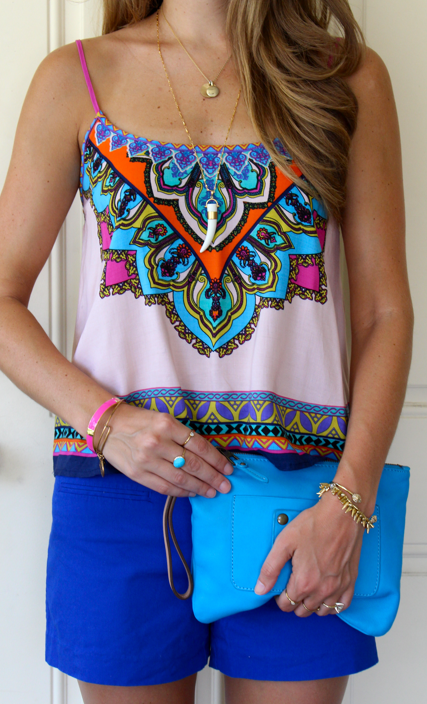 Mint Julep printed top with Gap cobalt shorts