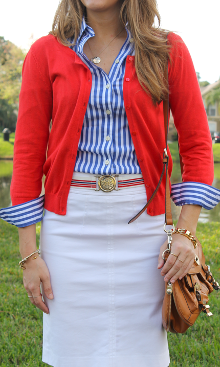 Red, white and blue office outfit