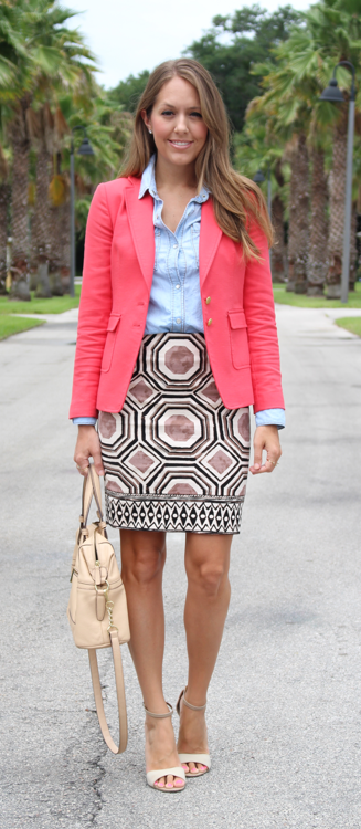LOFT geo pencil skirt with coral blazer and chambray top