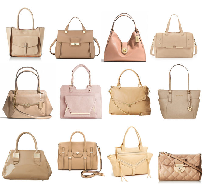 """Vachetta"" nude and blush purses"