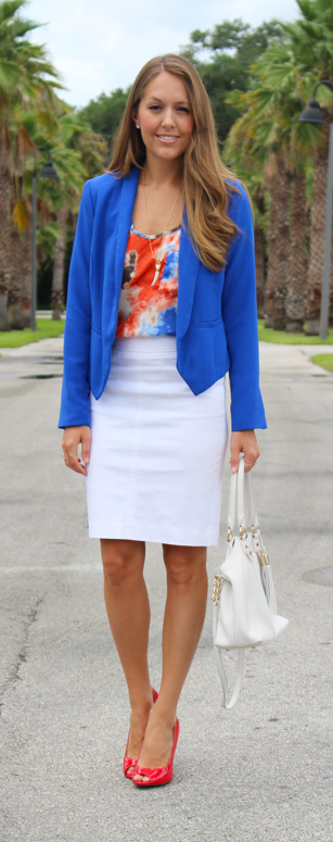 Cobalt blazer with red and white