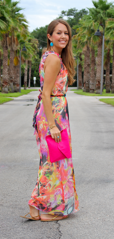 Floral maxi dress with bright accessories