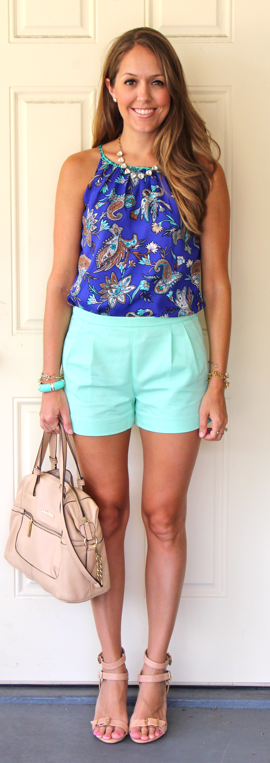LOFT paisley top with J.Crew mint shorts