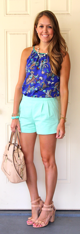 Paisley top with mint shorts