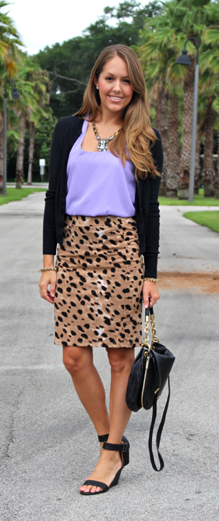 Lavender and leopard outfit