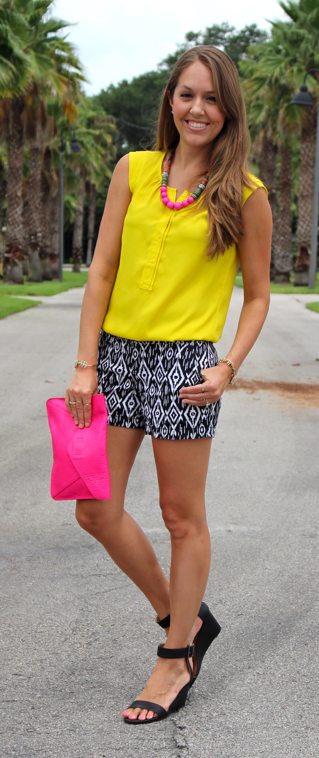 Yellow top and black tribal print shorts