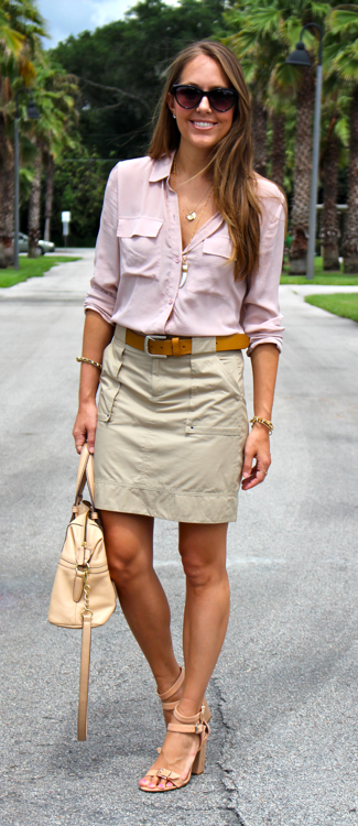 Blush silk top with cargo skirt