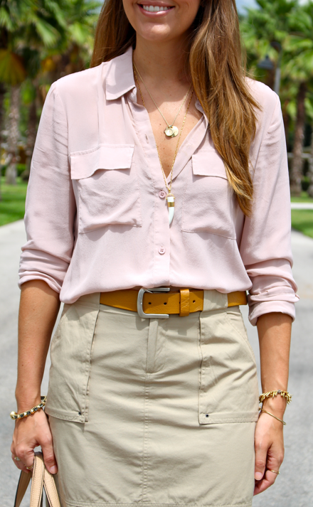 Blush top with cargo skirt
