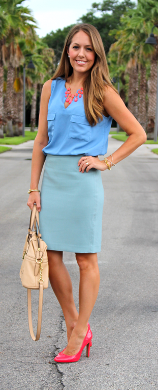 Powder blue, seafoam and coral outfit idea
