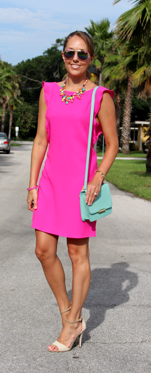 Hot pink flutter sleeve dress