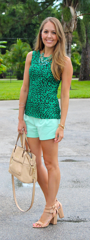 Emerald leopard top with turquoise and mint