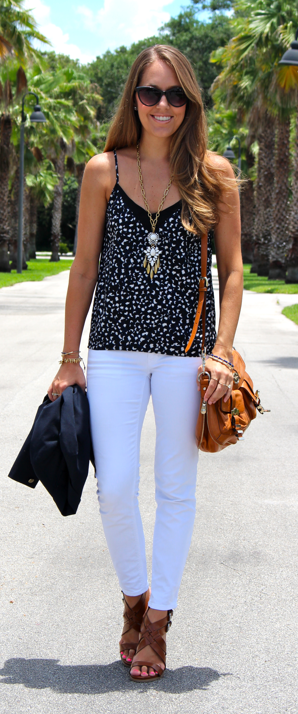 Vince Camuto tank with white jeans and navy blazer
