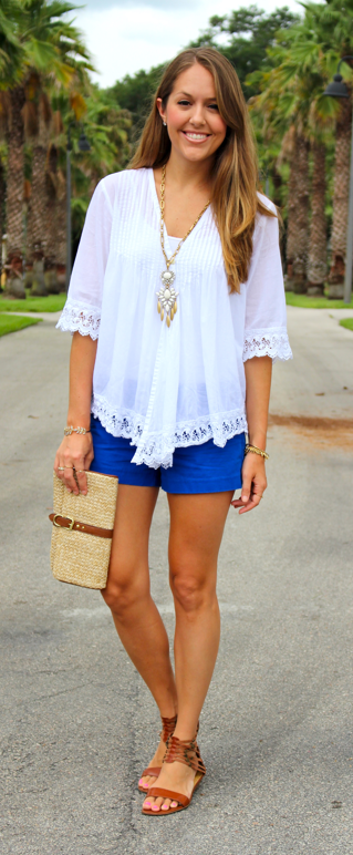 Casual outfit with cobalt shorts