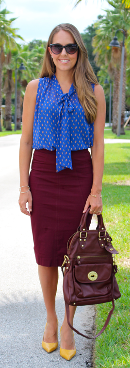 Blue, burgundy and mustard outfit idea