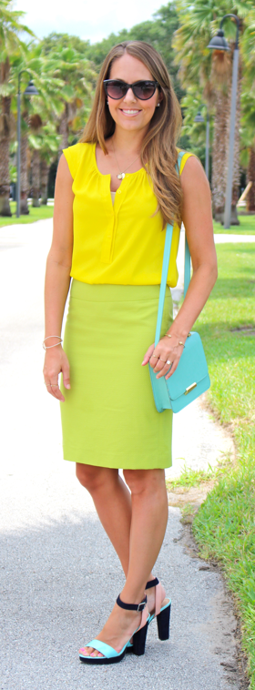 Mint, yellow and citrine outfit idea