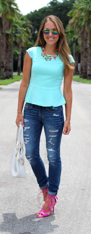 Mint peplum top outfit