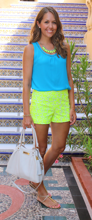 Electric blue top with J.Crew Factory neon shorts