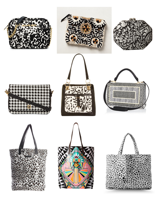 Black and white handbags on a budget