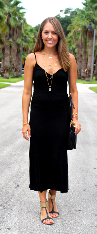 Black dress with flat sandals