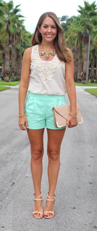 Mint shorts with neutrals