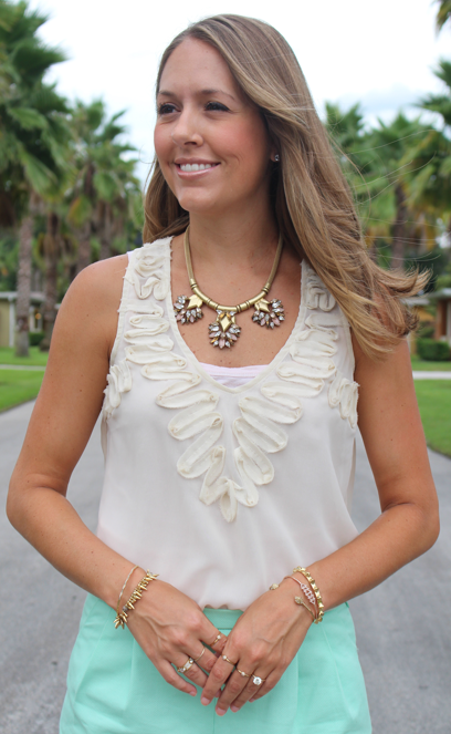 Stella & Dot Helena necklace with mint shorts