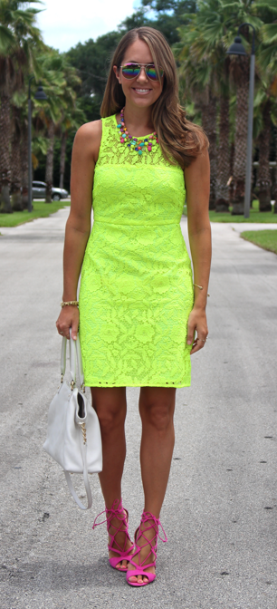 Bargain finds: J.Crew neon lace dress