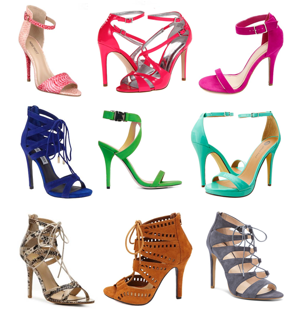 Colorful, strappy shoes under $100