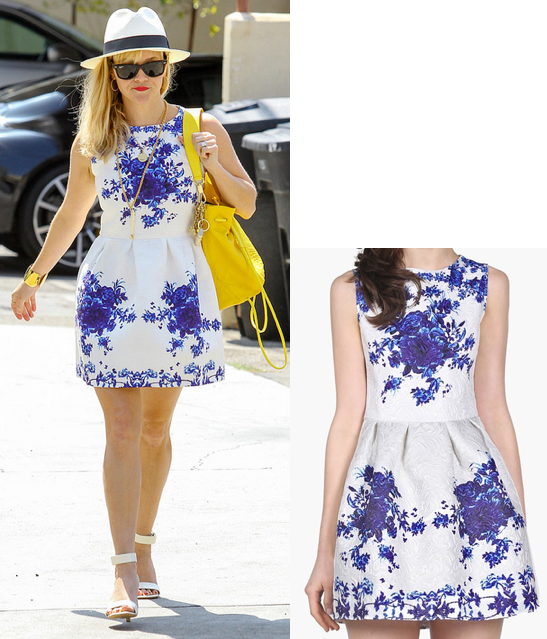 Look for less: Reese Witherspoon blue floral dress