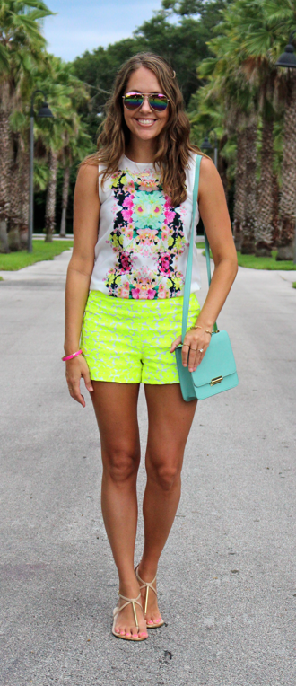 H&M floral top with J.Crew neon shorts