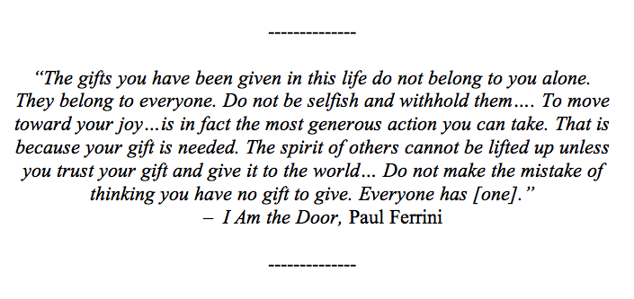 Inspirational quote from I Am the Door
