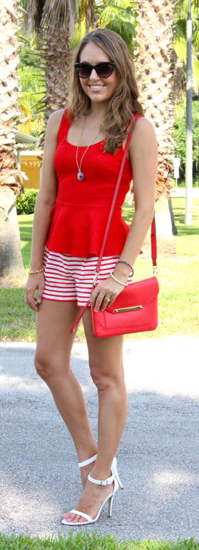 Red peplum top with red striped shorts