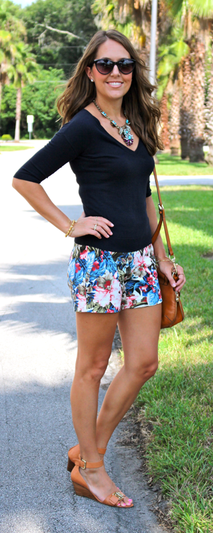 V-neck navy sweater with floral shorts
