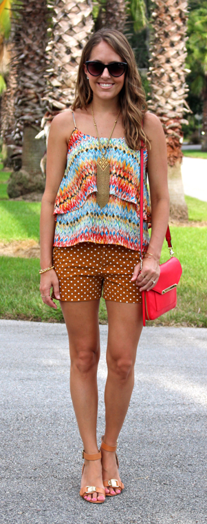 Boho top with polka dot shorts and Stella & Dot Makena