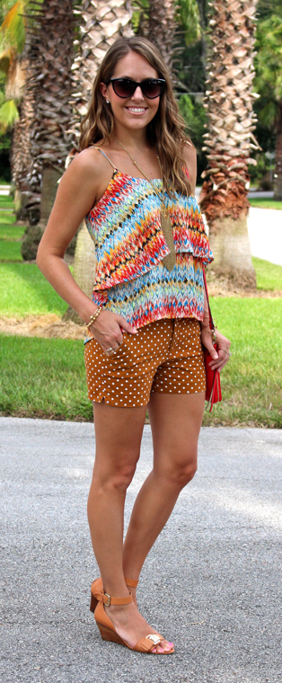 Boho top with polka dot shorts