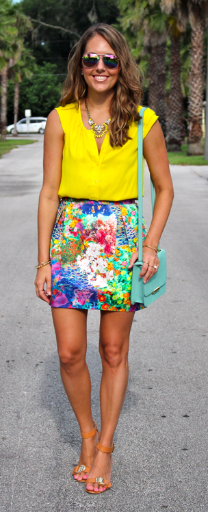 Yellow top with floral skirt and mint purse