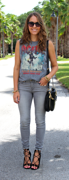 Concert tee with gray jeans and lace up heels