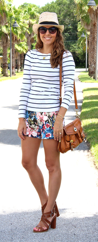 Striped H&M top with J.Crew floral shorts