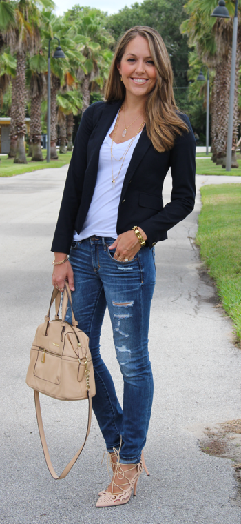 Navy blazer with distressed jeans and lace-up heels