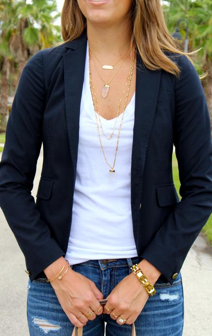 Stella & Dot Aria necklace with navy blazer